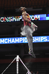August 18, 2018 - Boston, Massachussetts, U.S - JALON STEPHENS practices on the high bar during the warm-up period before the final round of competition held at TD Garden in Boston, Massachusetts. (Credit Image: © Amy Sanderson via ZUMA Wire)