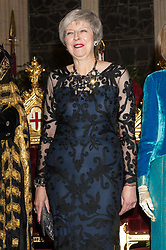 © Licensed to London News Pictures. 12/11/2018. London, UK. British Prime Minister THERESA MAY attends the Lord Mayor's Banquet at Guildhall. The The 691st Lord Mayor of the City of London, Peter Estlin, will host the annual Lord Mayor's Banquet. Photo credit: Ray Tang/LNP