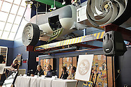 Erik Lindbergh, grandson of aviator Charles Lindbergh, participates in 85th anniversary celebration of his grandfather's historic solo flight across Atlantic, on Saturday May 19, 2012, at Cradle of Aviation museum, Long Island, New York. Significance of the 1927 flight of C. Lindbergh's Spirit of St. Louis which started at nearby Roosevelt Field, and ended at Le Bourget, France - was discussed, along with future of aviation, by panelists (L to R at table) Larry Williams, Erik Lindbergh (purple shirt), Martha King and John King; plus, plaque commemorating the flight was rededicated. 10th anniversary of Cradle of Aviation opening and 35th anniversary of Chales A & Anne Morrow Lindberg Foundation were also celebrated.