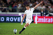 Owen Farrell (capitán)of England kicks the ball during the Rugby World Cup  final match between England and South Africa at the International Stadium ,  Saturday, Nov. 2, 2019, in Yokohama, Japan. South Africa defeated England 32-12. (Florencia Tan Jun/ESPA-Image of Sport)