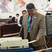 Navajo Nation Council Delegate Edmund Yazzie, submits his ballot for speaker of the Navajo Nation Council, Monday, Jan 28 on the first day of the winter session in Window Rock, Ariz.