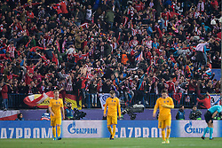 13.04.2016, Estadio Vicente Calderon, Madrid, ESP, UEFA CL, Atletico Madrid vs FC Barcelona, Viertelfinale, Rueckspiel, im Bild Atletico de Madrid's supporters celebrating the goal // during the UEFA Champions League Quaterfinal, 2nd Leg match between Atletico Madrid and FC Barcelona at the Estadio Vicente Calderon in Madrid, Spain on 2016/04/13. EXPA Pictures © 2016, PhotoCredit: EXPA/ Alterphotos/ BorjaB.Hojas<br /> <br /> *****ATTENTION - OUT of ESP, SUI*****