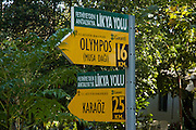 Turkey, Antalya Province, Olympos National Park signpost