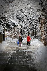 05.12.2010, Graz, AUT, Feature, im Bild Kinder gehen mit dem Bob in der Hand nach dem Schneefall durch eine Straße zur Rodelwiese, EXPA Pictures © 2012, PhotoCredit: EXPA/ Erwin Scheriau