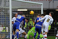 Cardiff City's Matthew Connelly (16) and Anthony Pilkington (13) fail to convert a goal chance from a corner. Skybet football league championship match, Cardiff city v MK Dons at the Cardiff city stadium in Cardiff, South Wales on Saturday 6th February 2016.<br /> pic by Carl Robertson, Andrew Orchard sports photography.