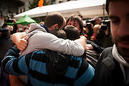 "6 of the 8 young persons who have been sentenced to six years in jail hug each other. They have been sentenced for having been members of the Basque pro-independence youth organization SEGI ('Keep on' in basque language). Donostia-San Sebastian (Basque Country) April, 16th 2013. As an arrest warrant was issued against them and they could be arrested any time, young supporters gathered them to prevent them from being arrested. The sentence stated: ""Membership to terrorist organization"". (Gari Garaialde/Bostok Photo)"
