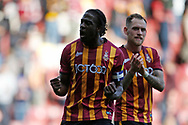 Bradford City's Clayton Donaldson(10) celebrates at full time during the EFL Sky Bet League 2 match between Bradford City and Northampton Town at the Utilita Energy Stadium, Bradford, England on 7 September 2019.
