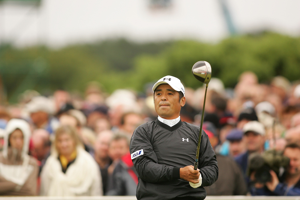 CARNOUSTIE, SCOTLAND - JULY 19:  Toshi Izawa follows through on a tee shot during the first round of the 136th Open Championship in Carnoustie, Scotland at Carnoustie Golf Links on Thursday, July 19, 2007. (Photo by Darren Carroll/Getty Images) *** LOCAL CAPTION *** Toshi Izawa