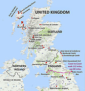 Map of our sights in northern England and Scotland, in the United Kingdom, for 34 days round trip from Seattle to Manchester 2017 July 23–August 22.
