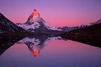 Matterhorn, View from Riffellake to Matterhorn (left) 4478 m