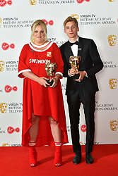 Daisy May Cooper and Charlie Cooper, with their BAFTA Award for Scripted Comedy, at the Virgin TV British Academy Television Awards 2018 held at the Royal Festival Hall, Southbank Centre, London.