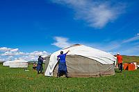 Mongolie, Province de Ovorkhangai, Vallee de l'Orkhon, campement nomade, montage de la yourte // Mongolia, Ovorkhangai province, Okhon valley, Nomad camp, removal of a yurt, transhumance
