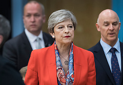 © Licensed to London News Pictures. 09/06/2017. Maidenhead, UK. Prime Minister Theresa May speaks at her constituency count at the Magnet Leisure Centre in Maidenhead. Polling stations are closing at 10pm with TV exit poll predicting a hung parliament. Photo credit: Peter Macdiarmid/LNP