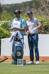 March 21, 2018 - Austin, TX, U.S. - AUSTIN, TX - MARCH 21: Jordan Spieth (USA) looks over the fairway with his caddie during the First Round of the WGC-Dell Technologies Match Play on March 21, 2018 at Austin Country Club in Austin, TX. (Photo by George Walker/Icon Sportswire) (Credit Image: © George Walker/Icon SMI via ZUMA Press)