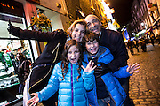 31/12/14 Simon and Monica Falzone with their children Jack and Lauren, Porta Rico enjoying New Years Eve celebrations in Temple Bar, Dublin. Picture:Arthur Carron