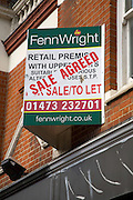 Retail premises sale agreed sign, Ipswich, England