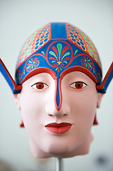 Brightly painted reconstructed original head of a Greek warrior on display at Pergamon Museum in Berlin Germany