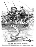 "The United Empire Anglers. Lord Rothermere. ""Got any big ones?"" Lord Beaverbrook. ""I've not actually landed any; but Amery's nibbling again."" (an InterWar cartoon showing Conservative politician Leo Amery as a fish jumping to the bait of newspaper proprietors Beaverbrook and Rothermere as fishermen)"