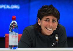 September 5, 2018 - Carla Suarez Navarro of Spain talks to the media after losing her quarter-final match at the 2018 US Open Grand Slam tennis tournament. New York, USA. September 05, 2018. (Credit Image: © AFP7 via ZUMA Wire)