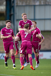 Arbroath's Colin Hamilton (3) celebrates after scoring their first hal goal. half time ; Raith Rovers 0 v 1 Arbroath. Scottish Football League Division One game played 16/2/2109 at Stark's Park.