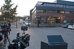 ©Licensed to London News Pictures 02/03/2020<br /> Maidstone, UK. TV news crews outside Maidstone studios. A member of staff working at a business on the Maidstone studios site in Maidstone, Kent has tested positive for Coronavirus. Its the first confirmed case in Kent. Photo credit: Grant Falvey/LNP