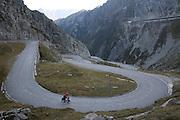 Cyclist Soloing Gotthard Pass - Switzerland