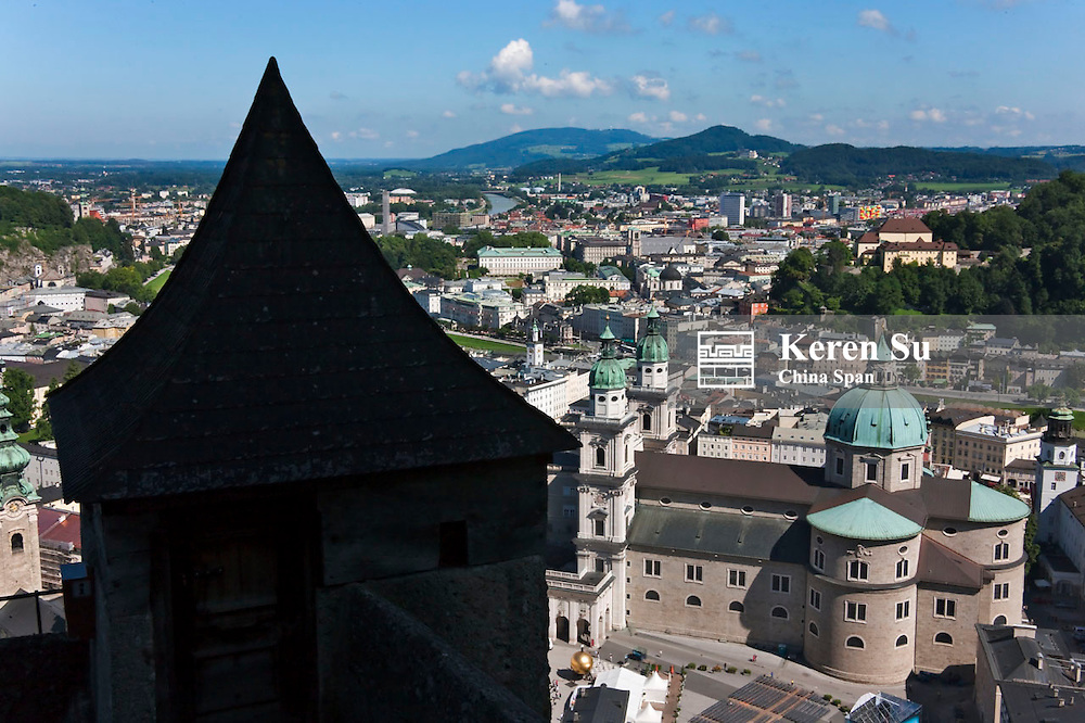 View of cityscape from Fortress Hohensalzberg, Salzburg, Austria