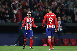 May 3, 2018 - Madrid, Spain - ANTOINE GRIEZMANN of Atletico de Madrid celebrates victory with FERNANDO TORRES during the UEFA Europa League, semi final, 2nd leg football match between Atletico de Madrid and Arsenal FC on May 3, 2018 at Metropolitano stadium in Madrid, Spain (Credit Image: © Manuel Blondeau via ZUMA Wire)