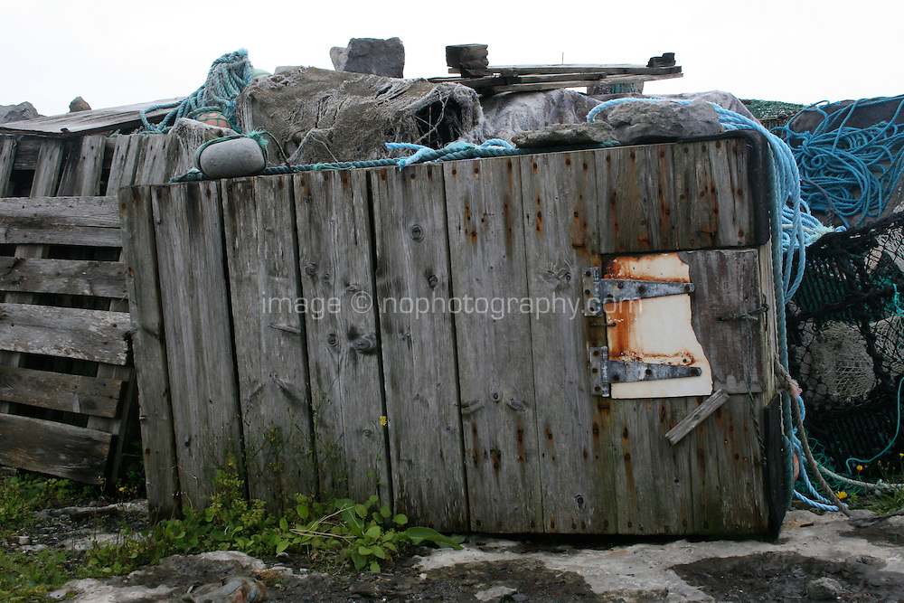 Fisherman's ropes and wooden storage box on the Aran Islands Galway Ireland