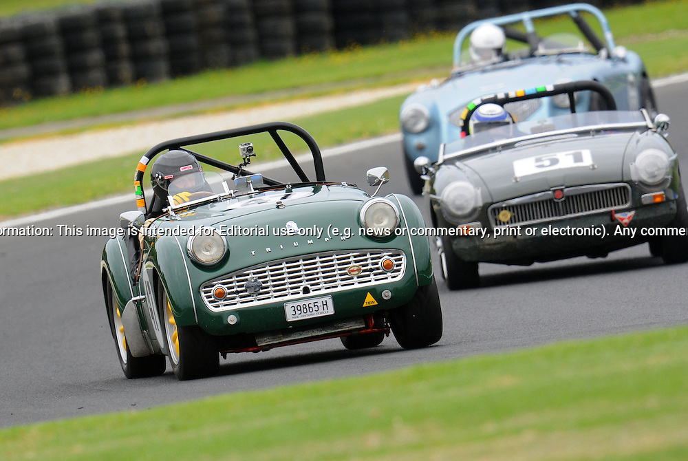 Andrew Gibson - Triumph TR 3A.Historic Motorsport Racing - Phillip Island Classic.18th March 2011.Phillip Island Racetrack, Phillip Island, Victoria.(C) Joel Strickland Photographics.Use information: This image is intended for Editorial use only (e.g. news or commentary, print or electronic). Any commercial or promotional use requires additional clearance.