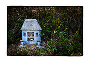 SHOT 2/19/19 2:30:41 PM - A small light blue roadside capilla along Highway 261 near Abala, Mexico. The capillas are often dedicated to certain patron saints or the memory of someone that has died at or near the site. Common throughout the backroads and secondary highways of Mexico they often contain prayer candles, pictures, personal artifacts or handwritten notes. (Photo by Marc Piscotty / © 2019)