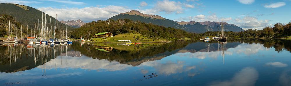 Micalvi yacht marina panorama, Puerto Williams, Isla Navarino, Tierra del Fuego, Chile.