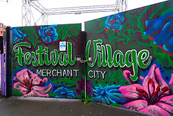 Prior to level 4 lockdown Festival Village beer garden in  Merchant City closed and doors chained shut, Scotland, UK