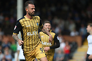 Sheffield Wednesday Forward Steven Fletcher celebrates after he scores his team's first goal.EFL Skybet championship match, Fulham v Sheffield Wednesday at Craven Cottage in London on Saturday 19th August 2017<br /> pic by Steffan Bowen, Andrew Orchard sports photography.