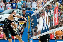 Matthias Mellitzer of Austria vs Martin Laciga M. of Switzerland at A1 Beach Volleyball Grand Slam tournament of Swatch FIVB World Tour 2010, on July 31, 2010 in Klagenfurt, Austria. (Photo by Matic Klansek Velej / Sportida)