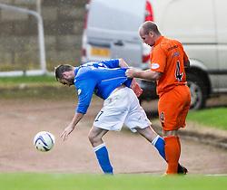Kilmarock's Jamie Hamill holds St Johnstone's James McFadden after a free kick.<br /> St Johnstone 1 v 2 Kilmarock, SPL game played at McDrarmid Park.