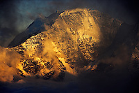 Russia, Caucasus, Donguzuron mountain (4468 m asl), seen from Elbrus in the last light in the evening.