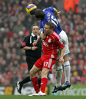 Photo: Paul Thomas.<br /> Liverpool v Everton. The Barclays Premiership. 03/02/2007.<br /> <br /> Alan Stubbs (15) of Everton climbs over Craig Bellamy to win a header.
