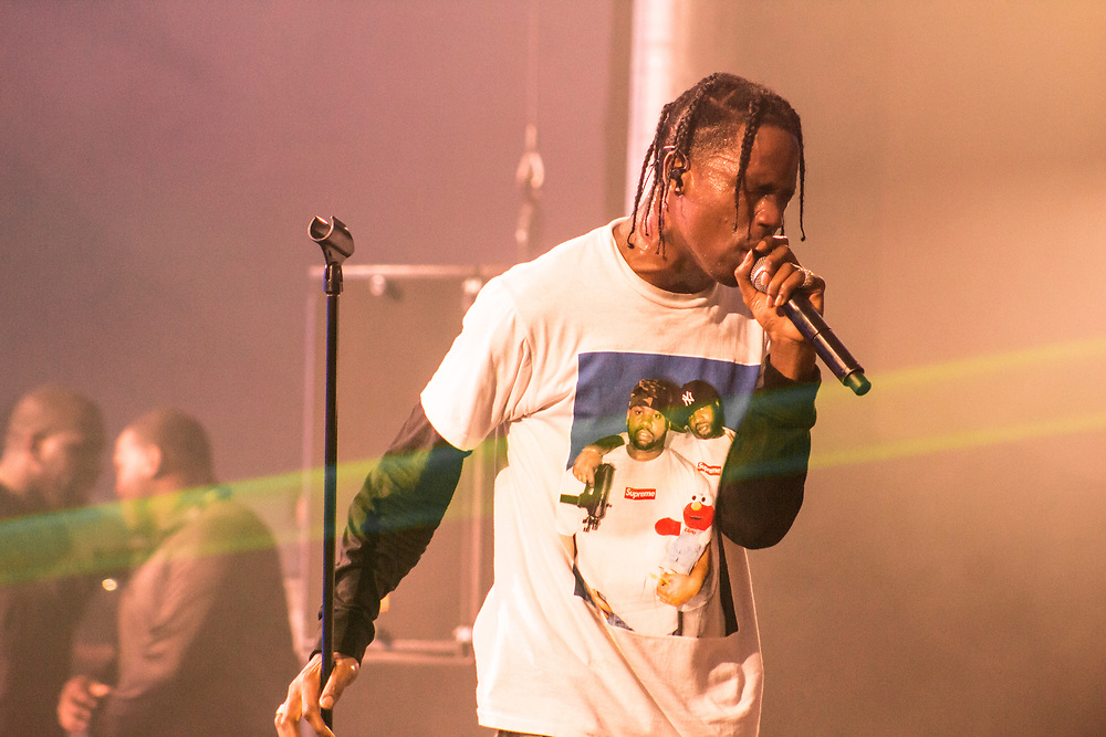 Travis Scott performs at the Freaky Deaky Festival outside of Chicago, IL on October 28, 2016.