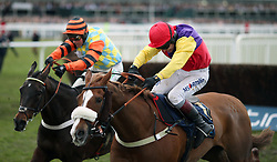 Native River ridden by Richard Johnson (right) wins the Timico Cheltenham Gold Cup Chase ahead of Might Bite ridden by Nico de Boinville during Gold Cup Day of the 2018 Cheltenham Festival at Cheltenham Racecourse.