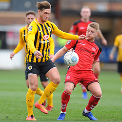 TELFORD COPYRIGHT MIKE SHERIDAN 2/3/2019 - Darryl Knights of AFC Telford battles for the ball during the National League North fixture between Boston United and AFC Telford United at the York Street Jakemans Stadium
