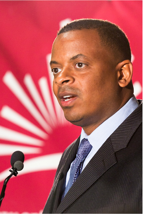 Incumbent major Anthony Foxx gives his acceptance speech after handily beating Republican candidate Scott Stone