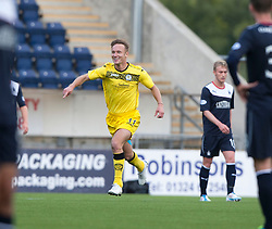 Queen of the South's Iain Russell (11) celebrates after scoring their goal.<br /> Falkirk 2 v 1 Queen of the South, Scottish Championship 5/10/2013.<br /> ©Michael Schofield.