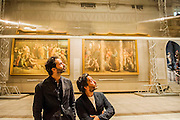 Double Space for BMW by Barber + Osgerby -<br /> Leading design duo, Edward Barber and Jay Osgerby (both pictured) worked with BMW to present a kinetic, silvered structure which is suspended from the ceiling of the Raphael Gallery at the V&A. The installation rotates to create a 'beguiling' reflection of the room, the art and the viewers on the ground. <br /> The London Design Festival at the V&A, South Kensington, London 12 Sept 2014. Guy Bell, 07771 786236, guy@gbphotos.com