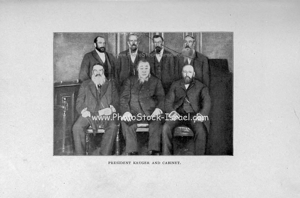 President Paul Kruger and Cabinet from the book ' Boer and Britisher in South Africa; a history of the Boer-British war and the wars for United South Africa, together with biographies of the great men who made the history of South Africa ' By Neville, John Ormond Published by Thompson & Thomas, Chicago, USA in 1900