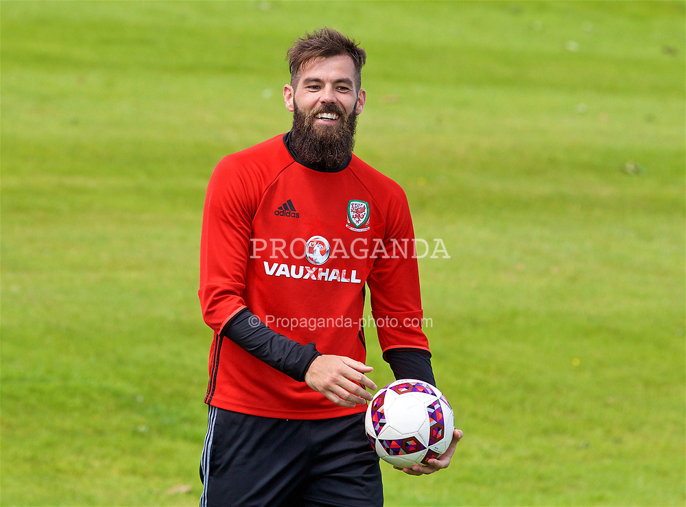 CARDIFF, WALES - Wednesday, June 7, 2017: Wales' Joe Ledley during a Lidl Play More Football filming session at the Vale Resort ahead of the 2018 FIFA World Cup Qualifying Group D match against Serbia. (Pic by David Rawcliffe/Propaganda)
