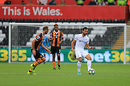 Jordi Amat  of Swansea city (r) in action.Premier league match, Swansea city v Hull city at the Liberty Stadium in Swansea, South Wales on Saturday 20th August 2016.<br /> pic by Andrew Orchard, Andrew Orchard sports photography.