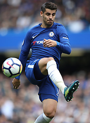 """Chelsea's Alvaro Morata during the Premier League match at Stamford Bridge, London. PRESS ASSOCIATION Photo. Picture date: Sunday September 17, 2017. See PA story SOCCER Chelsea. Photo credit should read: Nick Potts/PA Wire. RESTRICTIONS: EDITORIAL USE ONLY No use with unauthorised audio, video, data, fixture lists, club/league logos or """"live"""" services. Online in-match use limited to 75 images, no video emulation. No use in betting, games or single club/league/player publications."""