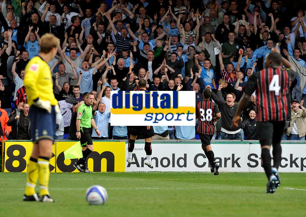 Manchester City's Valeri Bojinov (9) celebrates his goal.<br />Photo: Paul Greenwood/Richard Lane Photography. Stockport County v Manchester City. Pre Season Friendy. 02/08/2008.