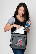 PHOENIX, AZ - OCTOBER 30: Examples of clear bag policy with model. (Photo by Sarah Sachs/Arizona Diamondbacks)